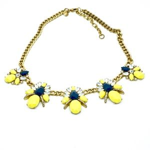 J CREW~crystal flower~STATEMENT NECKLACE